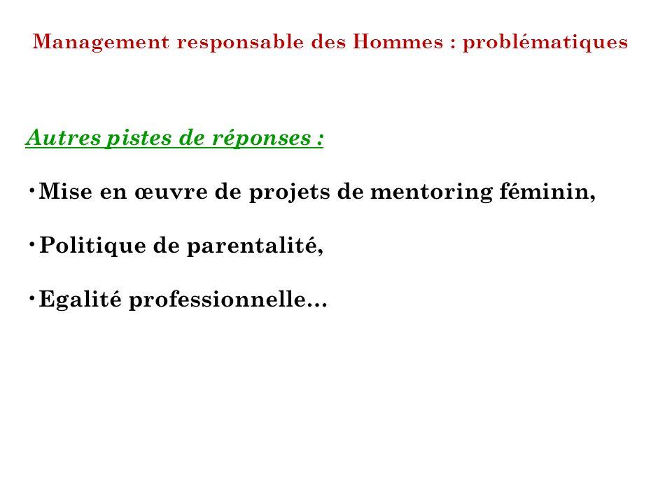 Management responsable des Hommes : problématiques Autres pistes de réponses : Mise en œuvre de projets de mentoring féminin, Politique de parentalité