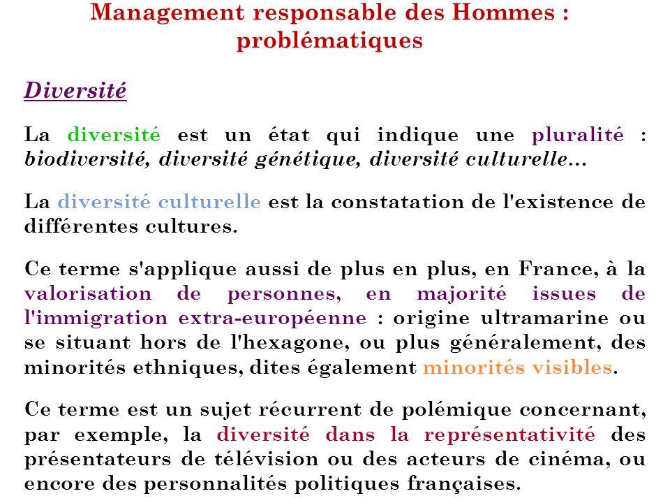 Management responsable des Hommes : problématiques Diversité La diversité est un état qui indique une pluralité : biodiversité, diversité génétique, d