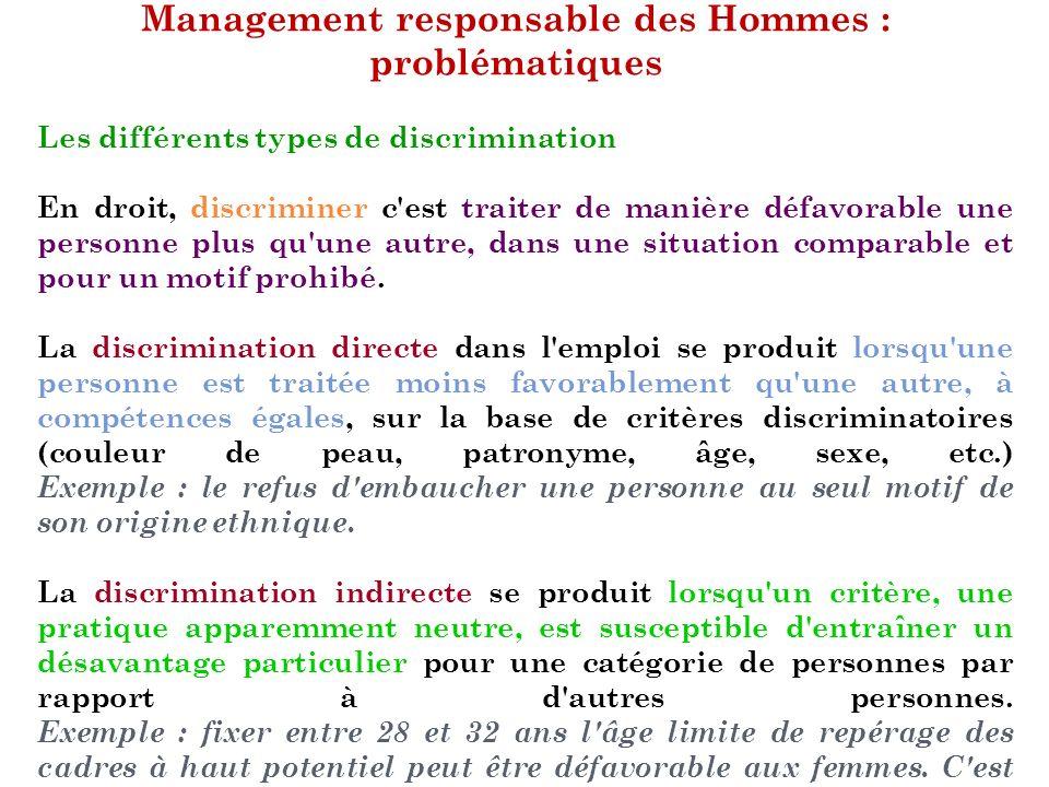 Management responsable des Hommes : problématiques Les différents types de discrimination En droit, discriminer c'est traiter de manière défavorable u