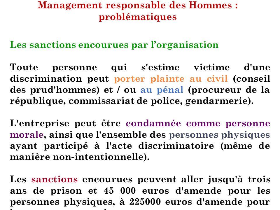 Management responsable des Hommes : problématiques Les sanctions encourues par lorganisation Toute personne qui s'estime victime d'une discrimination