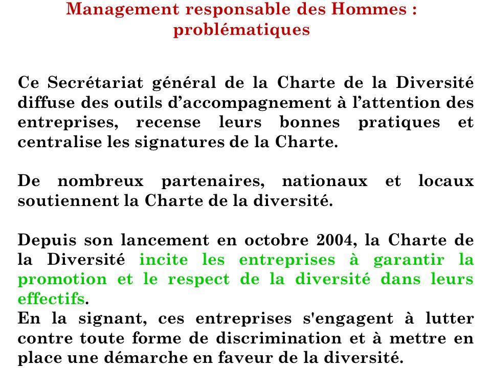 Management responsable des Hommes : problématiques Ce Secrétariat général de la Charte de la Diversité diffuse des outils daccompagnement à lattention