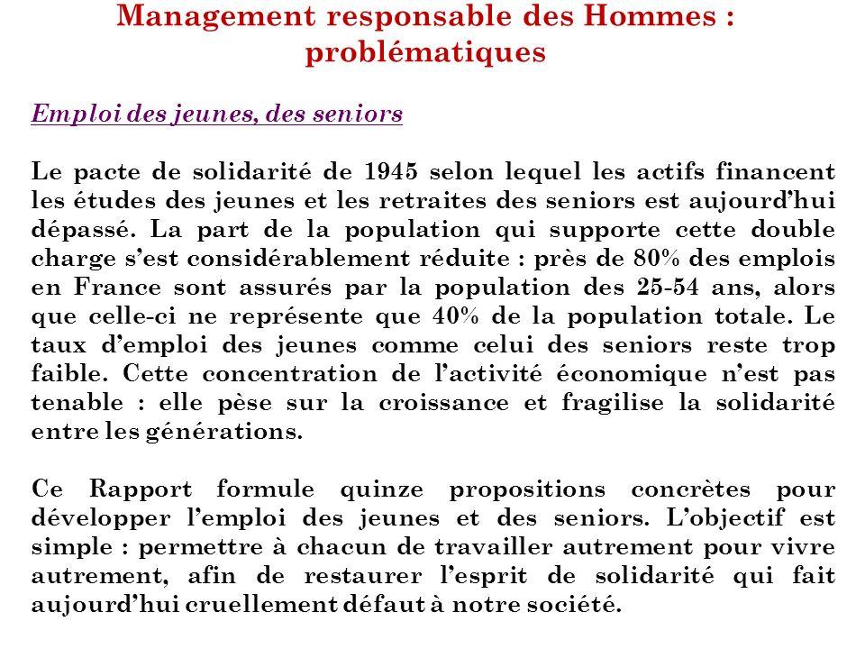 Management responsable des Hommes : problématiques Emploi des jeunes, des seniors Le pacte de solidarité de 1945 selon lequel les actifs financent les