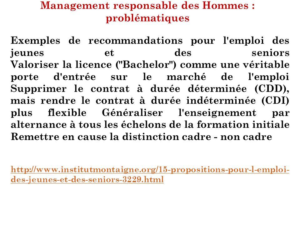 Management responsable des Hommes : problématiques Exemples de recommandations pour l'emploi des jeunes et des seniors Valoriser la licence (