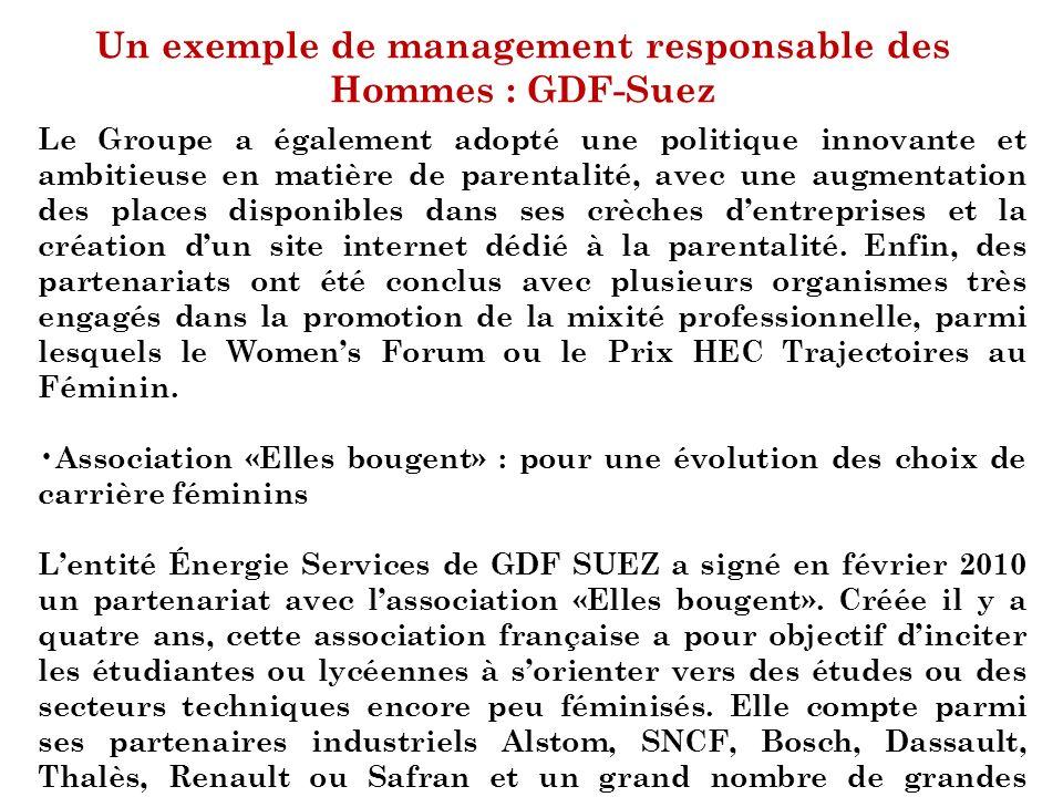 Un exemple de management responsable des Hommes : GDF-Suez Le Groupe a également adopté une politique innovante et ambitieuse en matière de parentalit