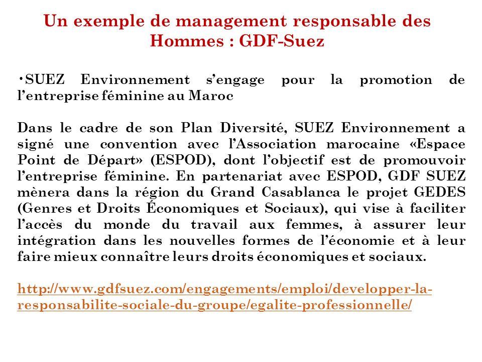 Un exemple de management responsable des Hommes : GDF-Suez SUEZ Environnement sengage pour la promotion de lentreprise féminine au Maroc Dans le cadre