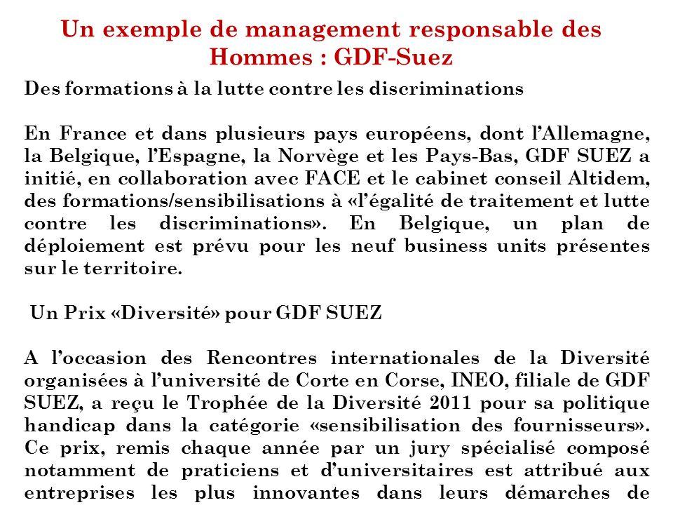 Un exemple de management responsable des Hommes : GDF-Suez Des formations à la lutte contre les discriminations En France et dans plusieurs pays europ