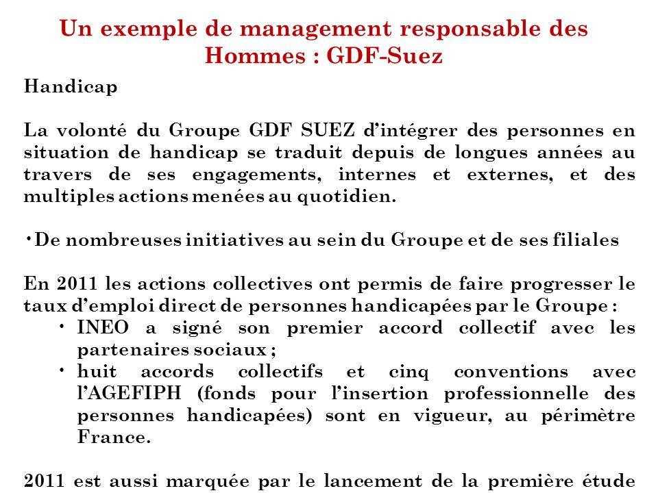 Un exemple de management responsable des Hommes : GDF-Suez Handicap La volonté du Groupe GDF SUEZ dintégrer des personnes en situation de handicap se