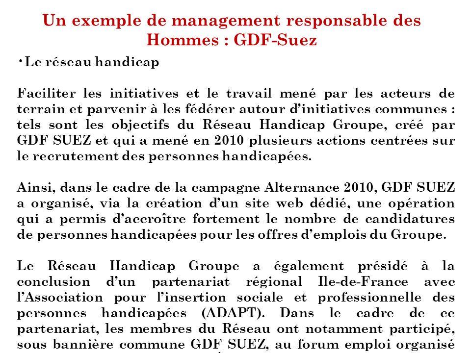 Un exemple de management responsable des Hommes : GDF-Suez Le réseau handicap Faciliter les initiatives et le travail mené par les acteurs de terrain