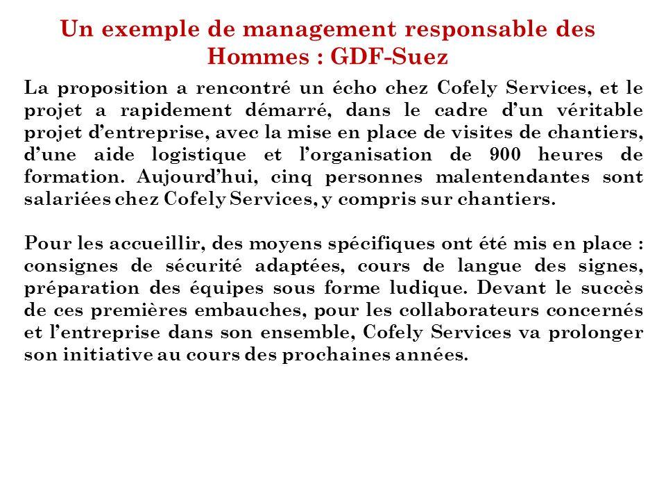 Un exemple de management responsable des Hommes : GDF-Suez La proposition a rencontré un écho chez Cofely Services, et le projet a rapidement démarré,