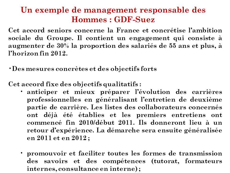 Un exemple de management responsable des Hommes : GDF-Suez Cet accord seniors concerne la France et concrétise lambition sociale du Groupe. Il contien