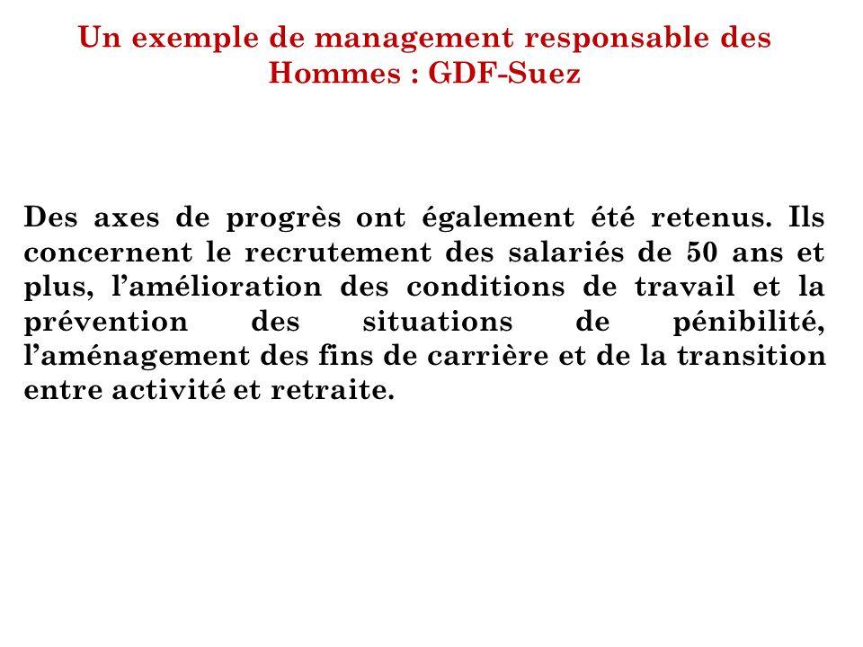 Un exemple de management responsable des Hommes : GDF-Suez Des axes de progrès ont également été retenus. Ils concernent le recrutement des salariés d