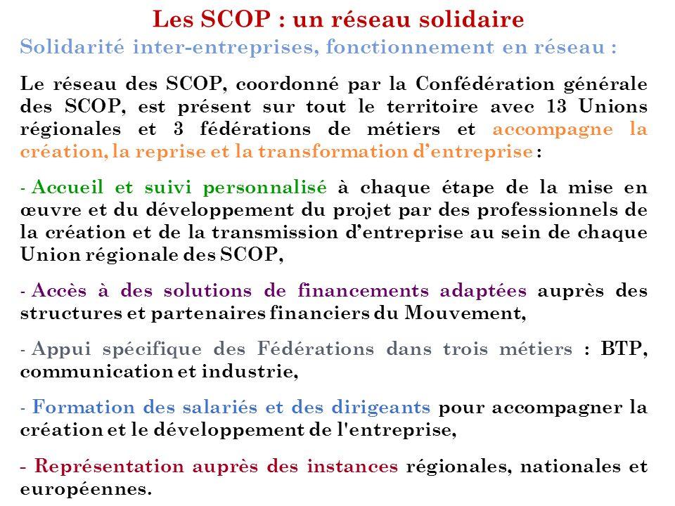 Les SCOP : un réseau solidaire Solidarité inter-entreprises, fonctionnement en réseau : Le réseau des SCOP, coordonné par la Confédération générale de