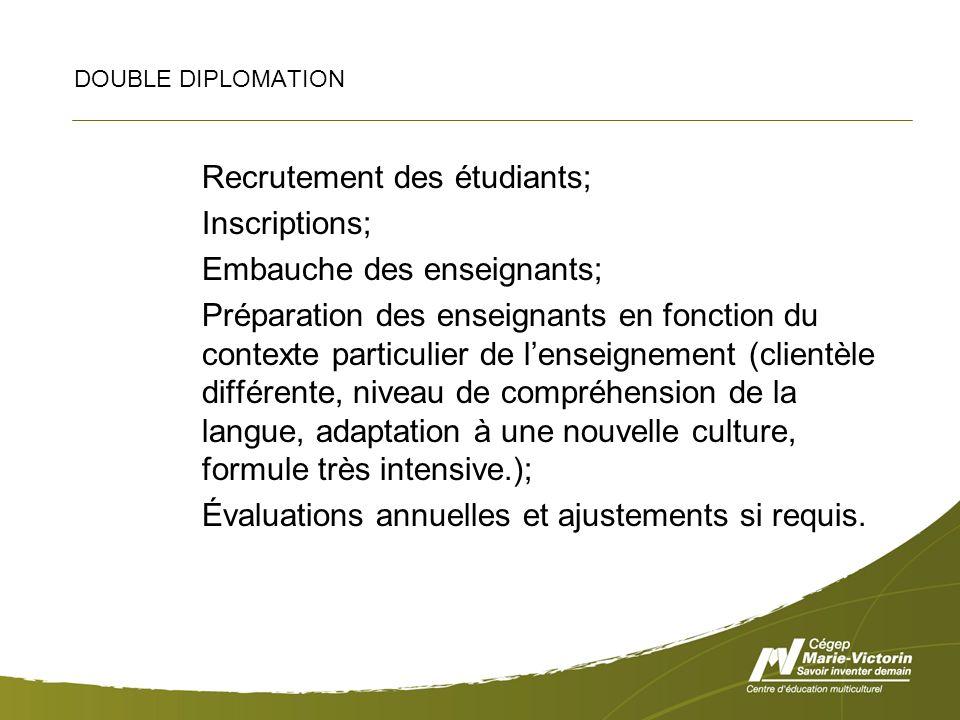 DOUBLE DIPLOMATION Recrutement des étudiants; Inscriptions; Embauche des enseignants; Préparation des enseignants en fonction du contexte particulier