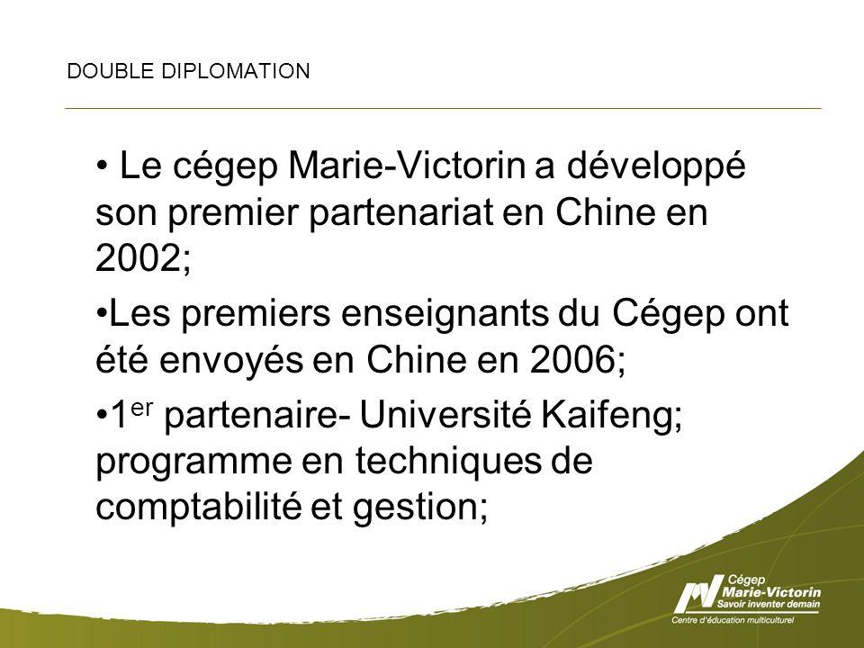 DOUBLE DIPLOMATION Le cégep Marie-Victorin a développé son premier partenariat en Chine en 2002; Les premiers enseignants du Cégep ont été envoyés en Chine en 2006; 1 er partenaire- Université Kaifeng; programme en techniques de comptabilité et gestion;