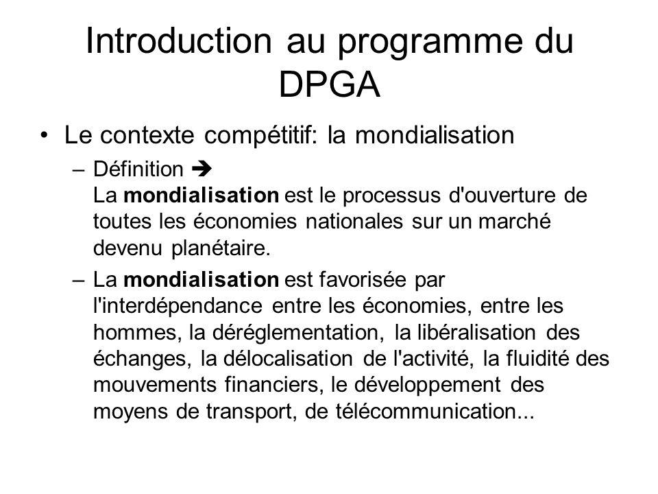 Introduction au programme du DPGA Le contexte compétitif: la mondialisation –Définition La mondialisation est le processus d'ouverture de toutes les é