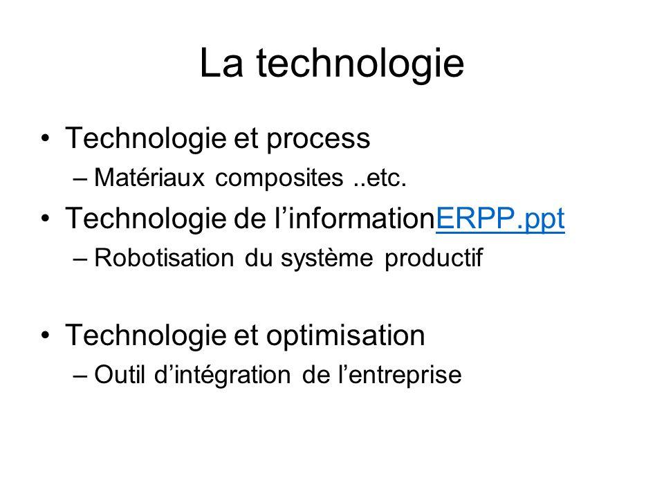 La technologie Technologie et process –Matériaux composites..etc. Technologie de linformationERPP.pptERPP.ppt –Robotisation du système productif Techn