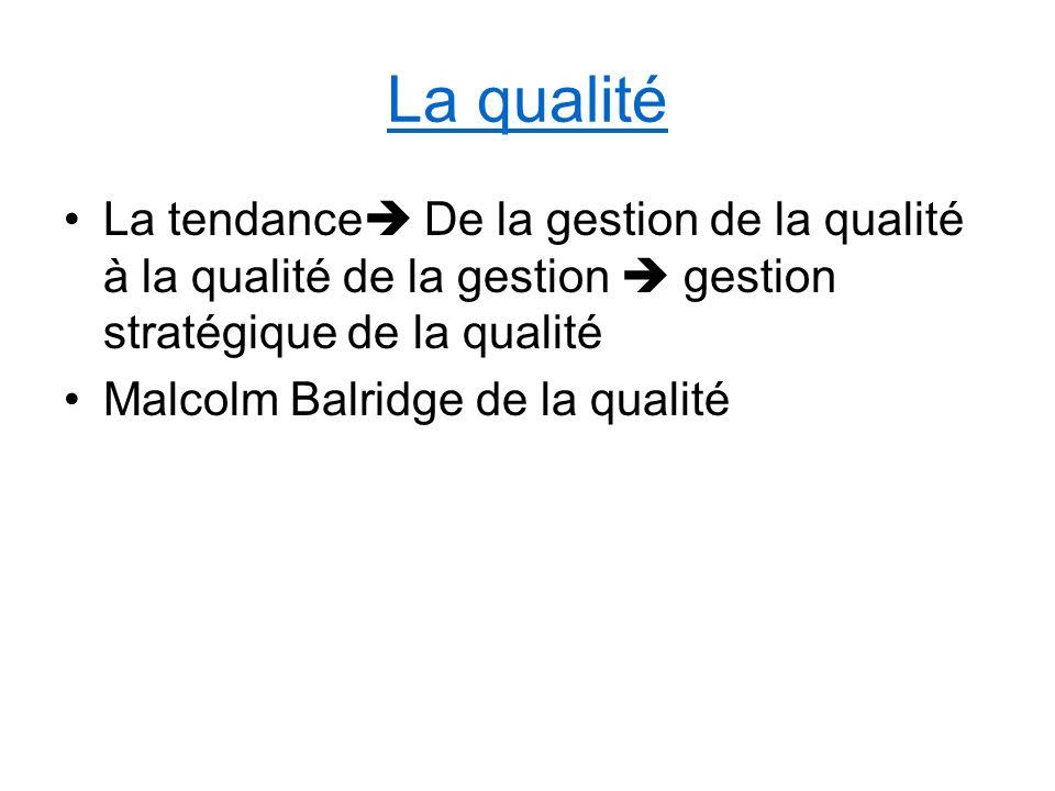 La qualité La tendance De la gestion de la qualité à la qualité de la gestion gestion stratégique de la qualité Malcolm Balridge de la qualité