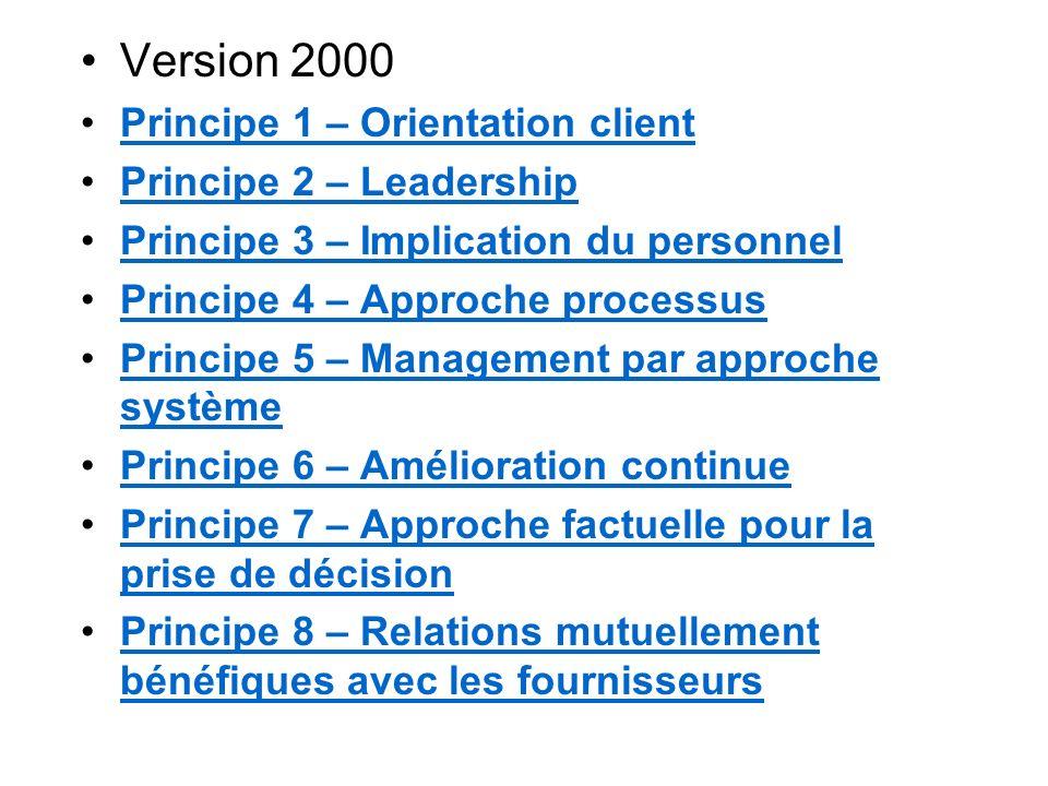 Version 2000 Principe 1 – Orientation client Principe 2 – Leadership Principe 3 – Implication du personnel Principe 4 – Approche processus Principe 5