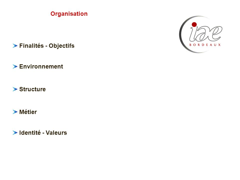 Finalités - Objectifs Environnement Structure Métier Identité - Valeurs Organisation