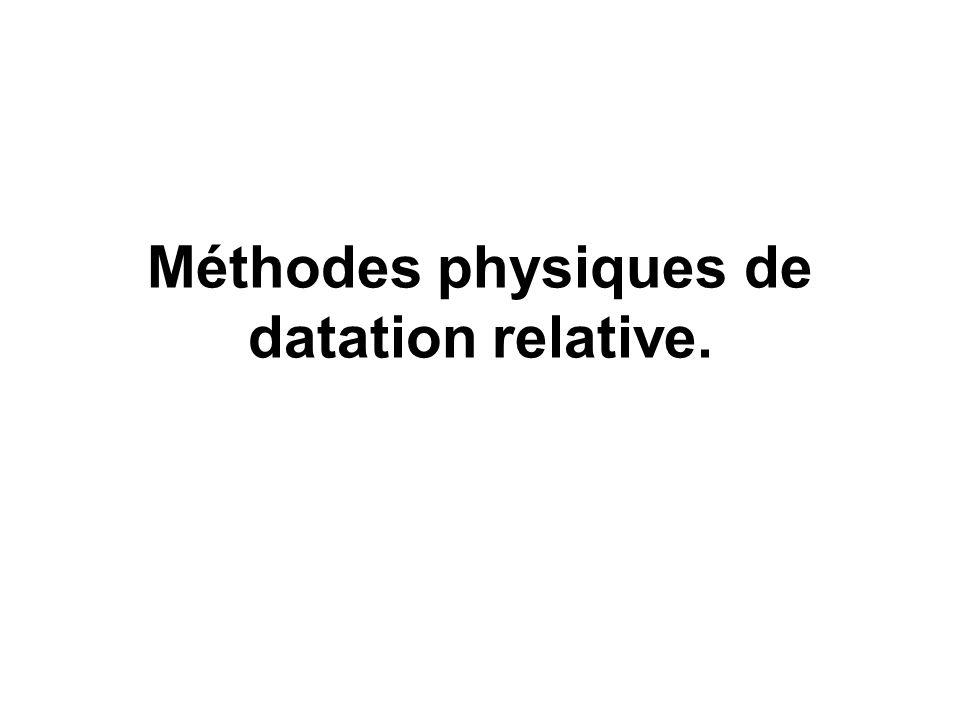 Méthodes physiques de datation relative.