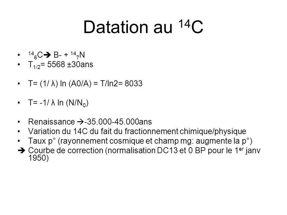 Datation au 14 C 14 6 C B- + 14 7 N T 1/2 = 5568 ±30ans T= (1/ λ) ln (A0/A) = T/ln2= 8033 T= -1/ λ ln (N/N 0 ) Renaissance -35.000-45.000ans Variation du 14C du fait du fractionnement chimique/physique Taux p° (rayonnement cosmique et champ mg: augmente la p°) Courbe de correction (normalisation DC13 et 0 BP pour le 1 er janv 1950)