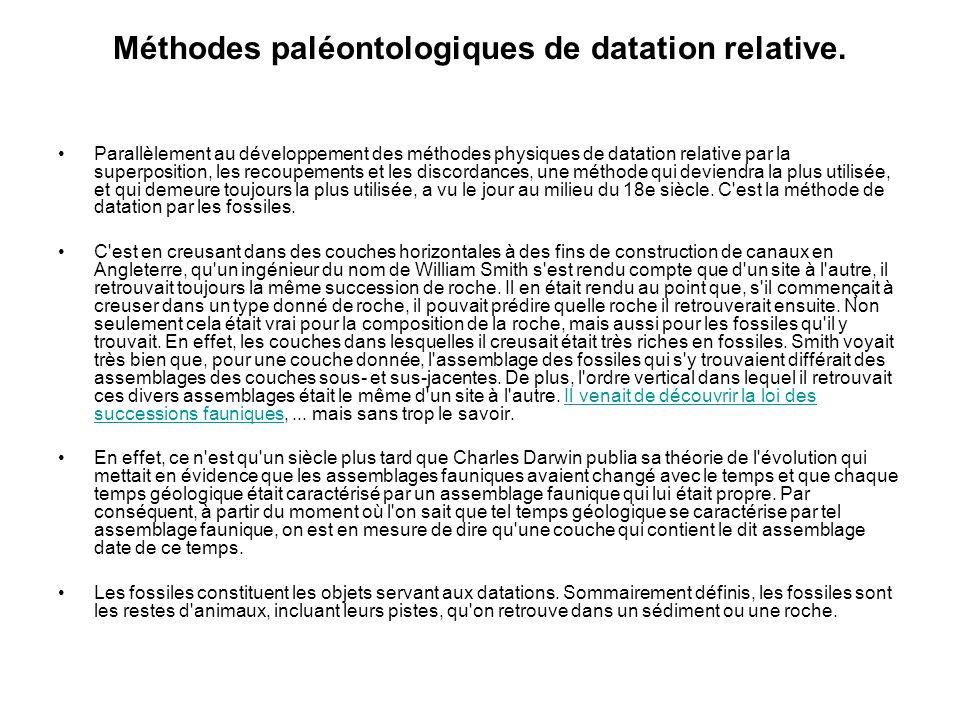 Méthodes paléontologiques de datation relative.