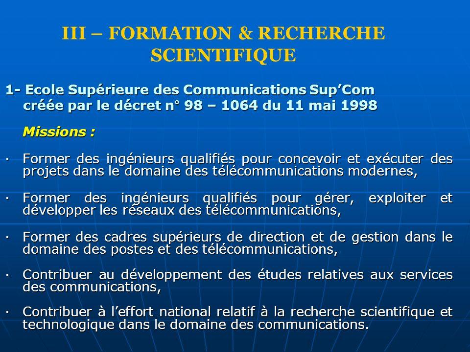 III – FORMATION & RECHERCHE SCIENTIFIQUE 1- Ecole Supérieure des Communications SupCom créée par le décret n° 98 – 1064 du 11 mai 1998 créée par le dé