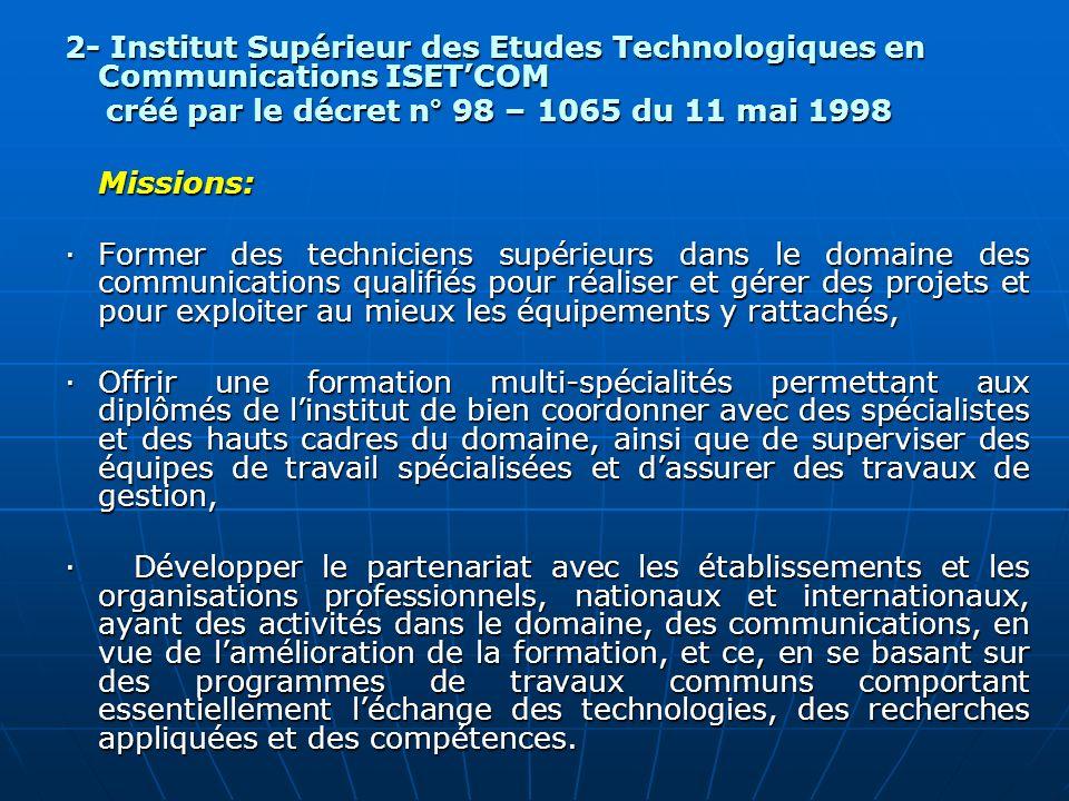 2- Institut Supérieur des Etudes Technologiques en Communications ISETCOM créé par le décret n° 98 – 1065 du 11 mai 1998 créé par le décret n° 98 – 10