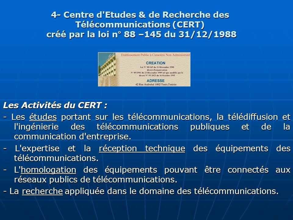 Les Activités du CERT : - Les études portant sur les télécommunications, la télédiffusion et l'ingénierie des télécommunications publiques et de la co