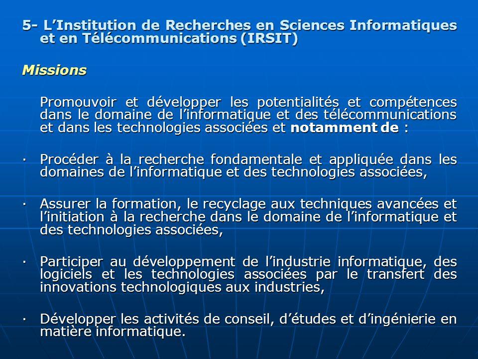 5- LInstitution de Recherches en Sciences Informatiques et en Télécommunications (IRSIT) Missions Promouvoir et développer les potentialités et compét