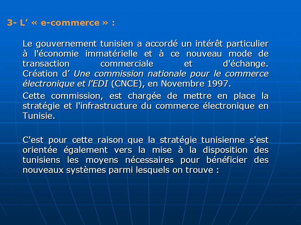 3- L « e-commerce » : Le gouvernement tunisien a accordé un intérêt particulier à l'économie immatérielle et à ce nouveau mode de transaction commerci