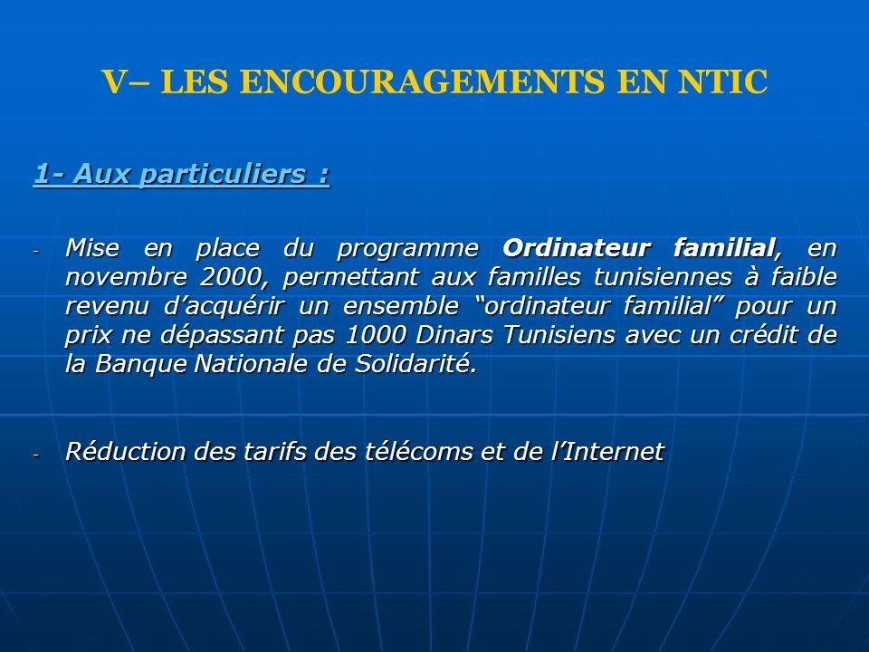 V– LES ENCOURAGEMENTS EN NTIC 1- Aux particuliers : - Mise en place du programme Ordinateur familial, en novembre 2000, permettant aux familles tunisi