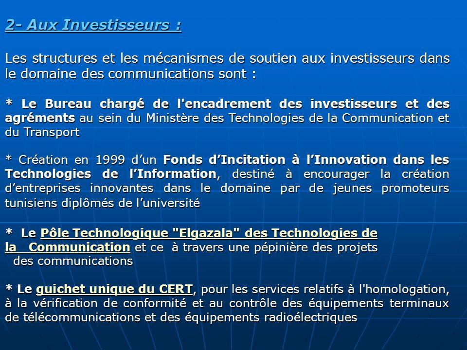 2- Aux Investisseurs : Les structures et les mécanismes de soutien aux investisseurs dans le domaine des communications sont : * Le Bureau chargé de l