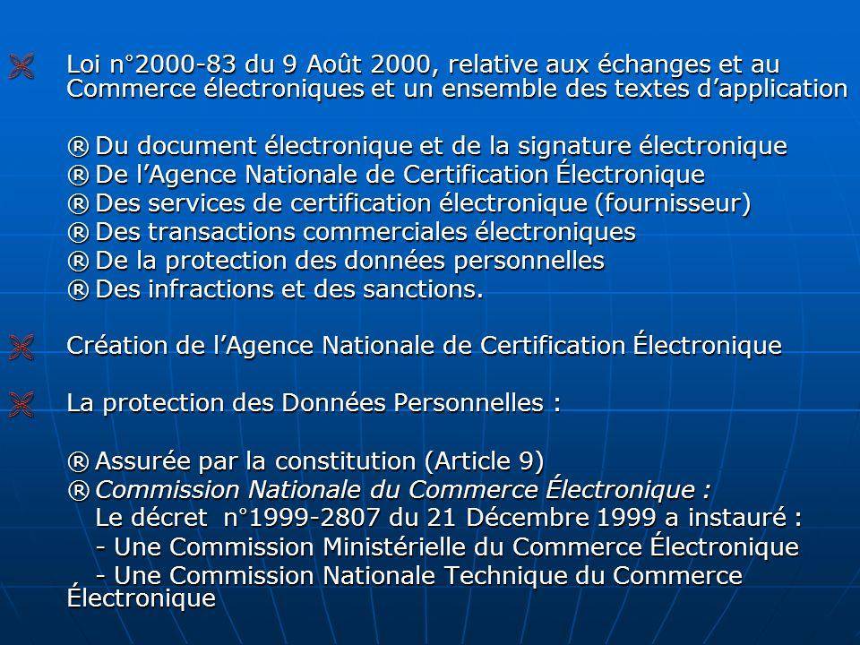 Loi n°2000-83 du 9 Août 2000, relative aux échanges et au Commerce électroniques et un ensemble des textes dapplication Loi n°2000-83 du 9 Août 2000,