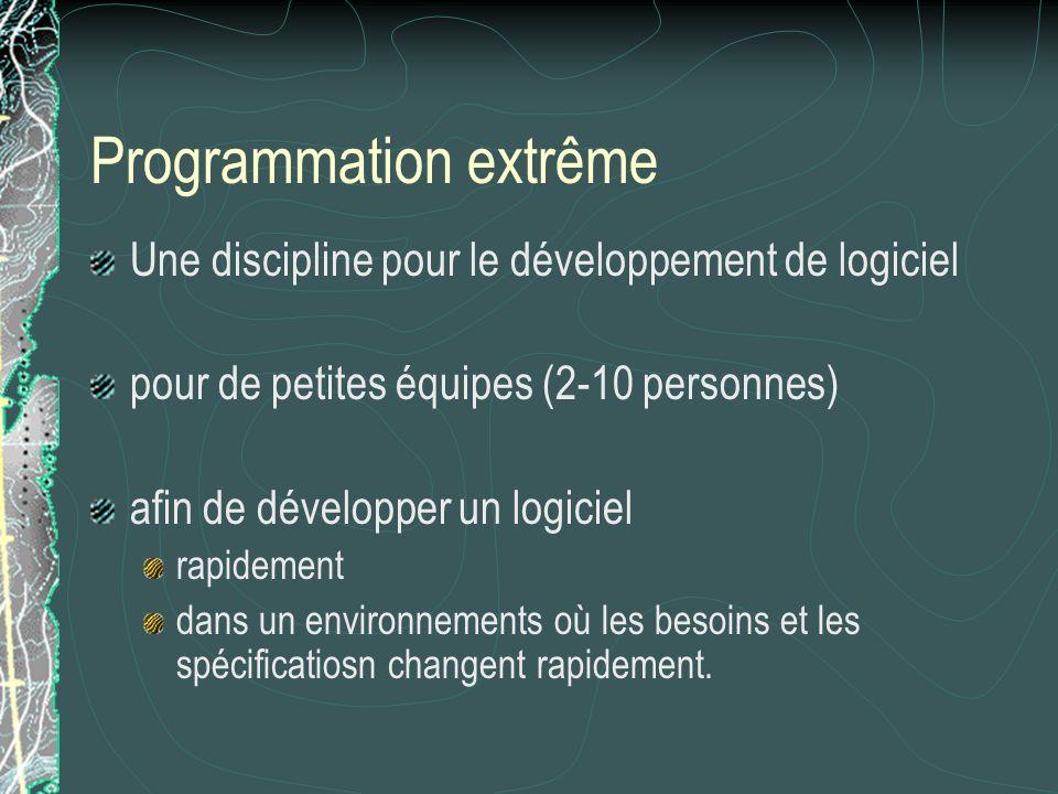 Programmation extrême Une discipline pour le développement de logiciel pour de petites équipes (2-10 personnes) afin de développer un logiciel rapidement dans un environnements où les besoins et les spécificatiosn changent rapidement.