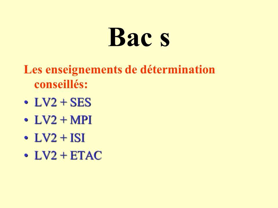 BAC ES Les enseignements de détermination conseillés: LV2 + SESLV2 + SES