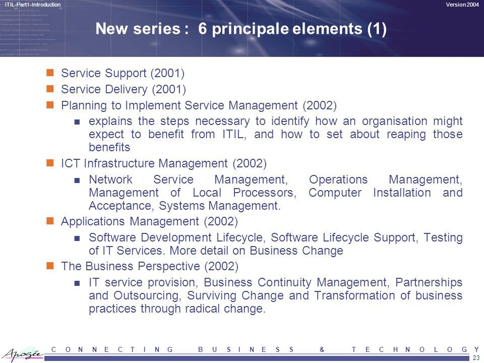 23 Version 2004ITIL-Part1-Introduction C O N N E C T I N G B U S I N E S S & T E C H N O L O G Y New series : 6 principale elements (1) Service Suppor