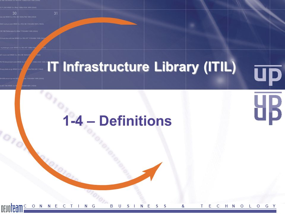 C O N N E C T I N G B U S I N E S S & T E C H N O L O G Y IT Infrastructure Library (ITIL) 1-4 – Definitions