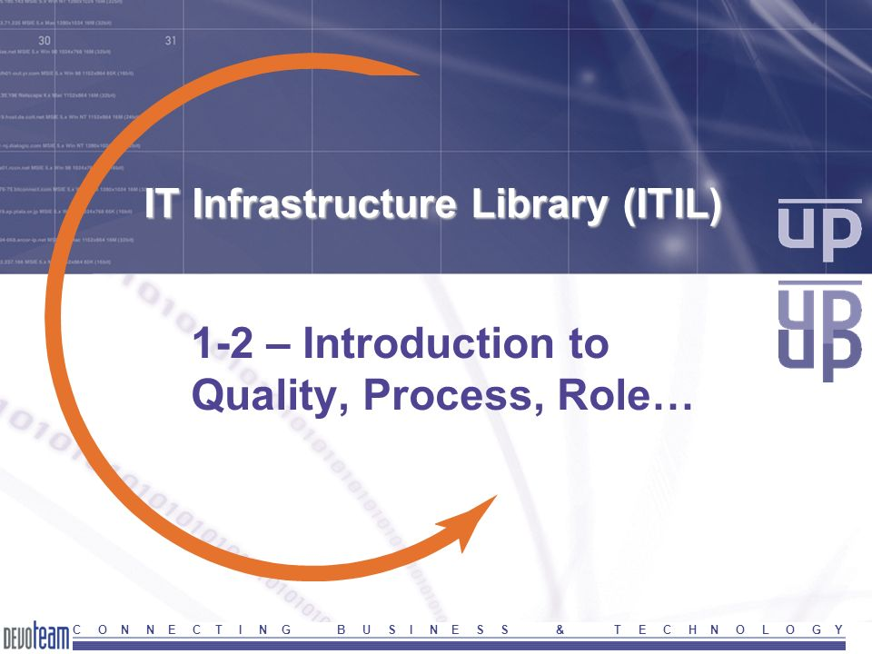 7 Version 2004ITIL-Part1-Introduction C O N N E C T I N G B U S I N E S S & T E C H N O L O G Y Service and Quality IT-service : the total management (maintenance and exploitation) of the IT-infrastructure.