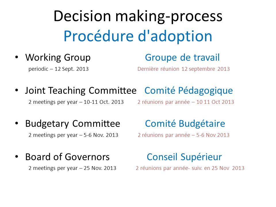 Decision making-process Procédure d adoption Working Group Groupe de travail periodic – 12 Sept.