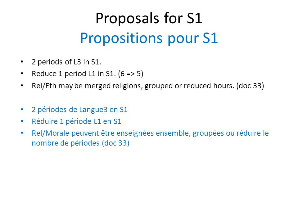 Proposals for S1 Propositions pour S1 2 periods of L3 in S1.