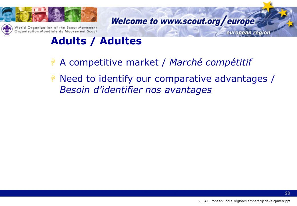 2004/European Scout Region/Membership development.ppt 20 Adults / Adultes HA competitive market / Marché compétitif HNeed to identify our comparative advantages / Besoin didentifier nos avantages