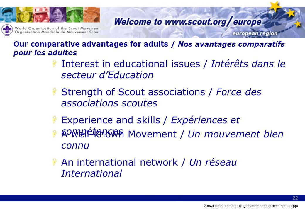 2004/European Scout Region/Membership development.ppt 22 Our comparative advantages for adults / Nos avantages comparatifs pour les adultes HInterest in educational issues / Intérêts dans le secteur dEducation HStrength of Scout associations / Force des associations scoutes HExperience and skills / Expériences et compétences HA well-known Movement / Un mouvement bien connu HAn international network / Un réseau International