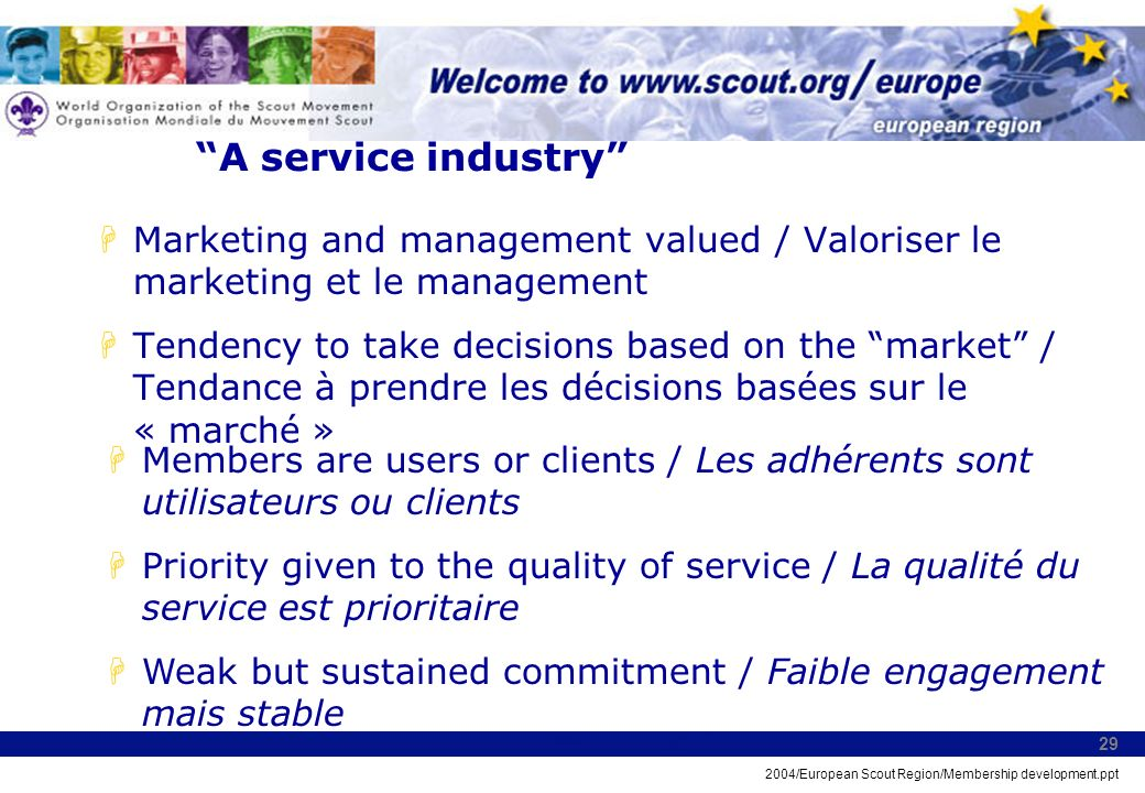 2004/European Scout Region/Membership development.ppt 29 A service industry HMarketing and management valued / Valoriser le marketing et le management HTendency to take decisions based on the market / Tendance à prendre les décisions basées sur le « marché » HMembers are users or clients / Les adhérents sont utilisateurs ou clients HPriority given to the quality of service / La qualité du service est prioritaire HWeak but sustained commitment / Faible engagement mais stable