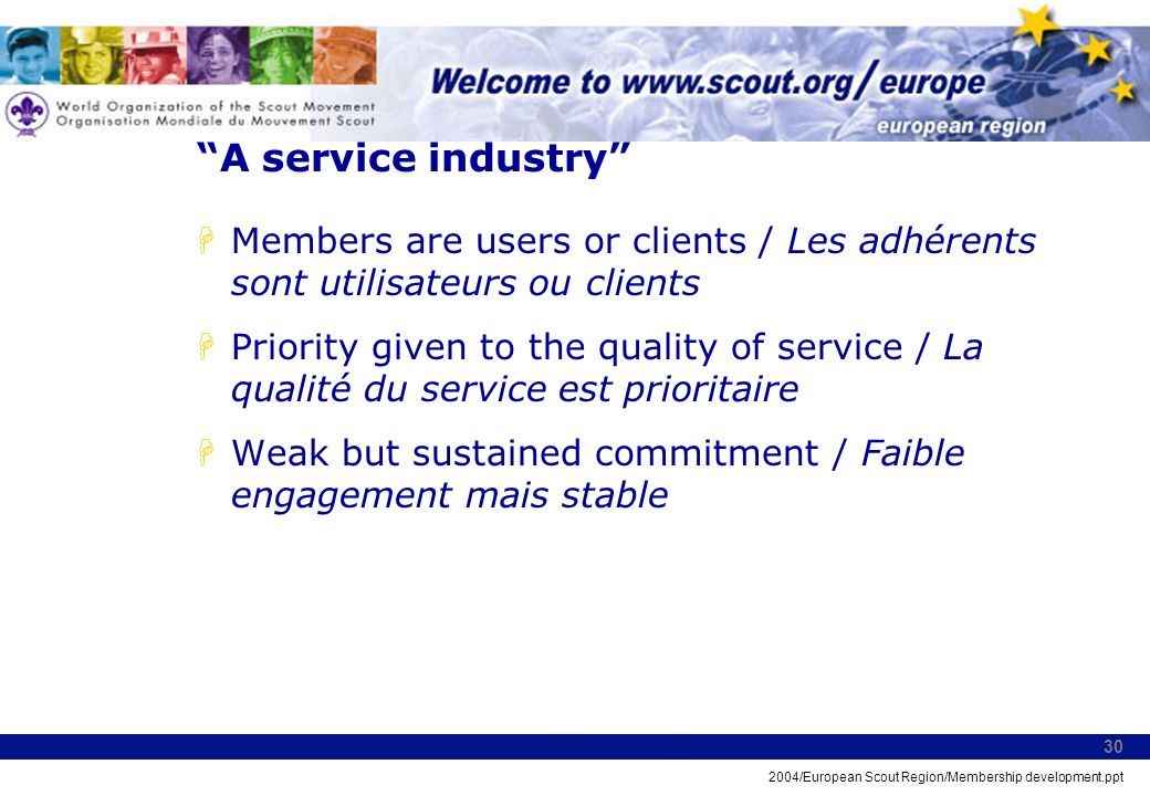 2004/European Scout Region/Membership development.ppt 30 A service industry HMembers are users or clients / Les adhérents sont utilisateurs ou clients HPriority given to the quality of service / La qualité du service est prioritaire HWeak but sustained commitment / Faible engagement mais stable