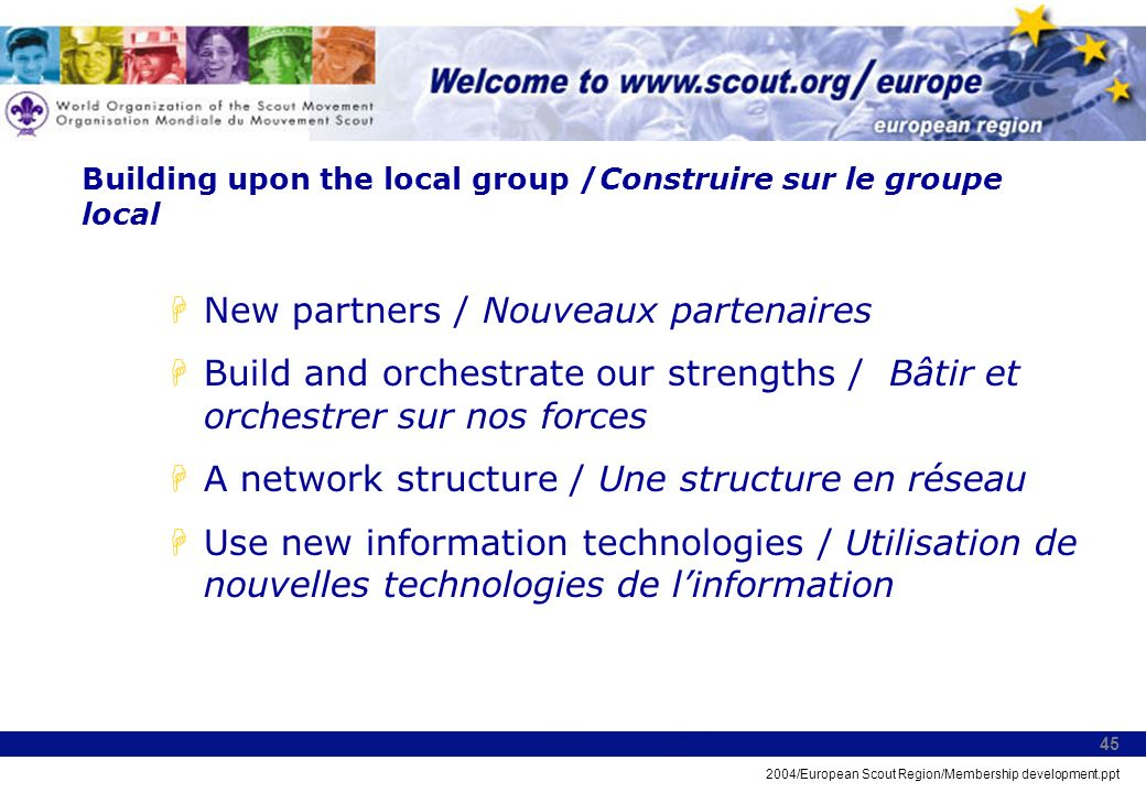 2004/European Scout Region/Membership development.ppt 45 Building upon the local group /Construire sur le groupe local HNew partners / Nouveaux parten