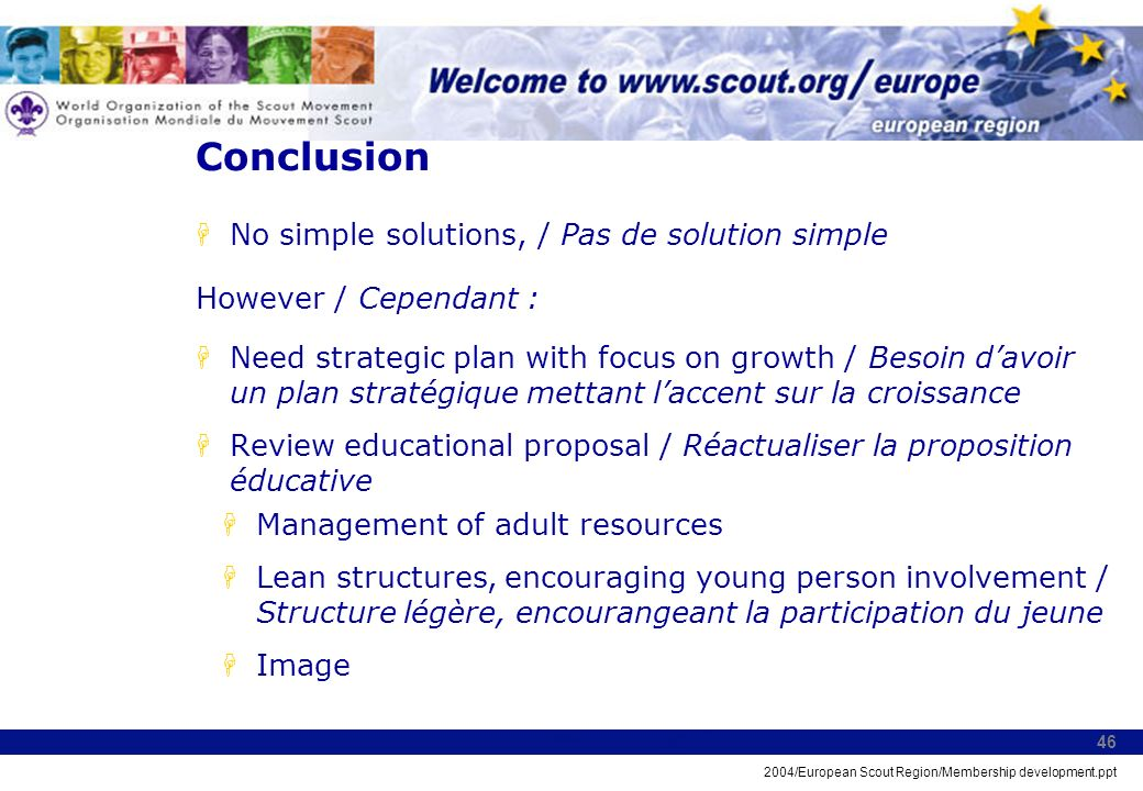2004/European Scout Region/Membership development.ppt 46 Conclusion HNo simple solutions, / Pas de solution simple However / Cependant : HNeed strategic plan with focus on growth / Besoin davoir un plan stratégique mettant laccent sur la croissance HReview educational proposal / Réactualiser la proposition éducative HManagement of adult resources HLean structures, encouraging young person involvement / Structure légère, encourangeant la participation du jeune HImage