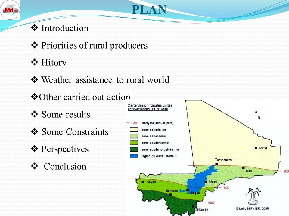 PLAN Introduction Priorities of rural producers Hitory Weather assistance to rural world Other carried out action Some results Some Constraints Perspectives Conclusion