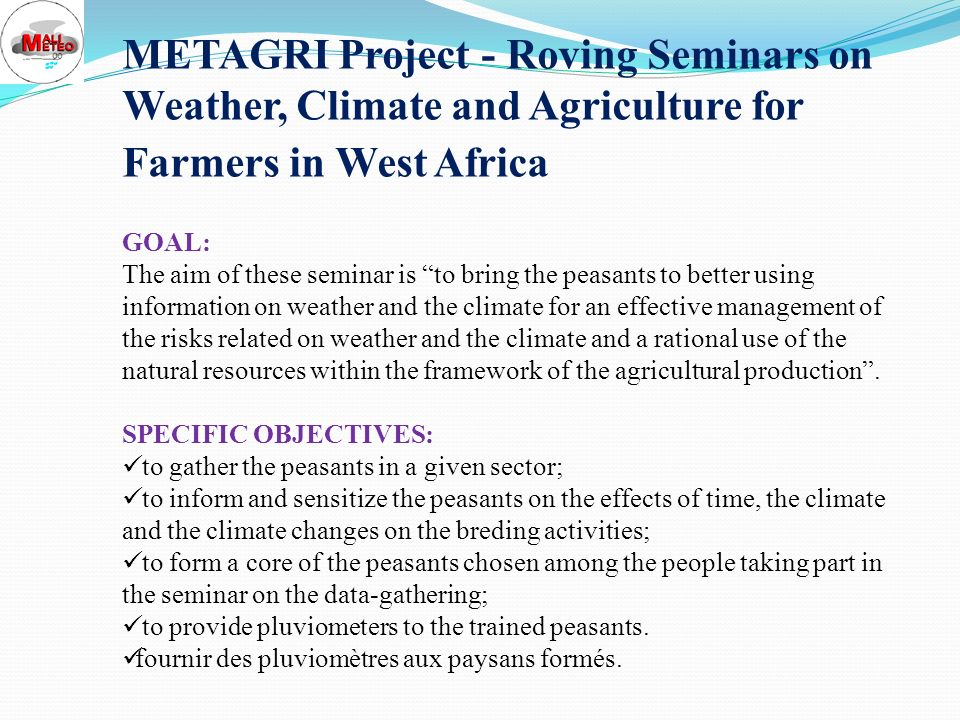 OTHER CARRIED OUT ACTIONS METAGRI Project; ANADIA Project; IWMI Project; CCAFS Project.