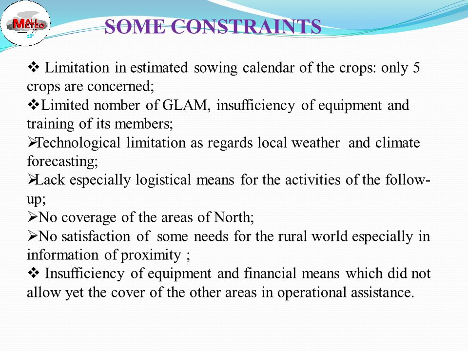 SOME RESULTS - CONTRIBUTION TO FOOD SECURITY AND ADAPTATION TO C.C - CONTRIBUTION TO FOOD SECURITY AND ADAPTATION TO C.C Reduction of the percentage of replanting (40% TO 5%) ; Reduction of the percentage of replanting (40% TO 5%) ; Increase of crop yield 20% ; Increase of crop yield 20% ; In 1998 the use of met and agromet information prevented the agricultural season from total failure ; In 1998 the use of met and agromet information prevented the agricultural season from total failure ; In January 2002 Forecast of « OUT OF SEASON » rain allowed the National Cotton Company (CMDT) to save MILLIONS OF US $ ; In January 2002 Forecast of « OUT OF SEASON » rain allowed the National Cotton Company (CMDT) to save MILLIONS OF US $ ; National MET SERVICE is a member of the National Council for Aggricultural Advice; National MET SERVICE is a member of the National Council for Aggricultural Advice; Strengthning of adaptive capavity to cope with Climate Change ; Strengthning of adaptive capavity to cope with Climate Change ; Building of awareness on Climate issues ; Building of awareness on Climate issues ; Transfert of technologies to rural people ; Transfert of technologies to rural people ; Promotion of integration of Climate variability and Climate Change to development process.